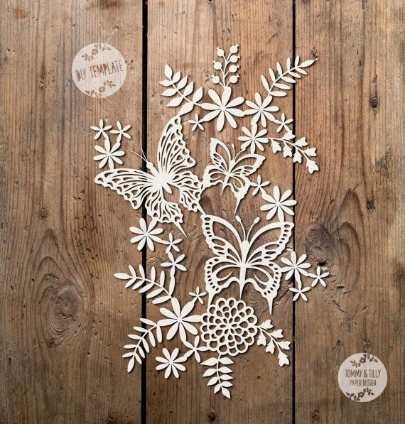 SVG / PDF Flowers & Butterflies Design by TommyandTillyDesign