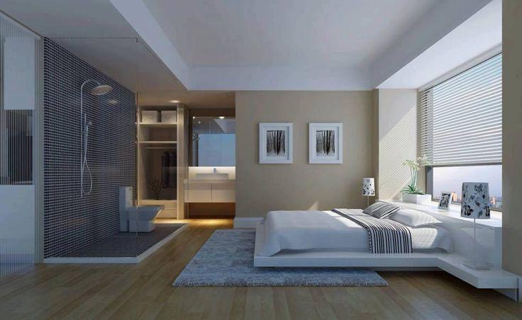 Camera da letto con doccia in vetro a vista interior design
