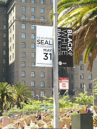 Street banners in downtown San Francisco.