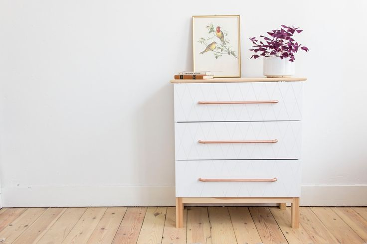 Ikea hack tarva dresser geo white and copper handles diy for Ikea tarva hack de lit