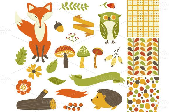 Check out Woodland Fall Clip Art,Mushrooms,Fox by GraphicMarket on Creative Market http://crtv.mk/sMnb