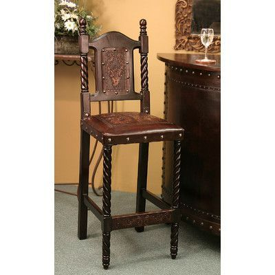 New World Trading Colonial Bar Stool Finish: Antique Brown