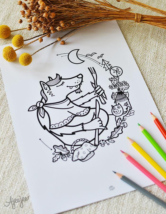Coloring page by Ajeejee   Kdopak by se vlka bál - omalovánková ilustrace