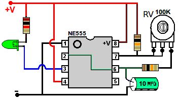 Dibujo de intermitente con NE555 a un led