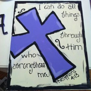 cool canvas painting ideas with bible verses | Cross bible verse painting by lea
