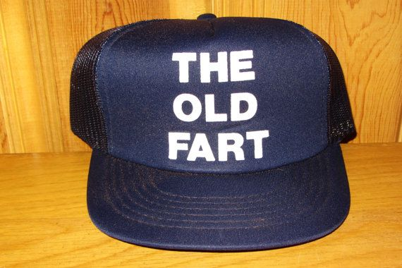 Funny Novelty THE OLD FART Original Vintage 80s Navy Blue Mesh Hat at HatsForward