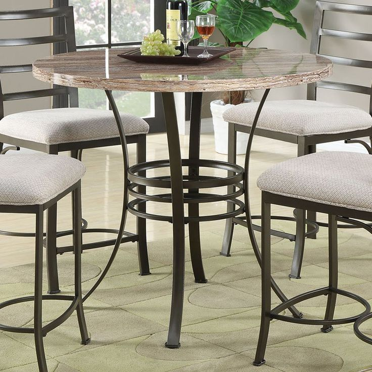 acme furniture daisy round counter height faux marble dining table