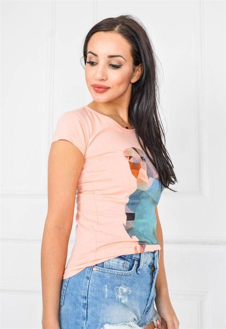 T-shirt z fantazyjnym nadrukiem - wesołą papugą :D, Ona Odzież Bluzki | Sukienki.shop