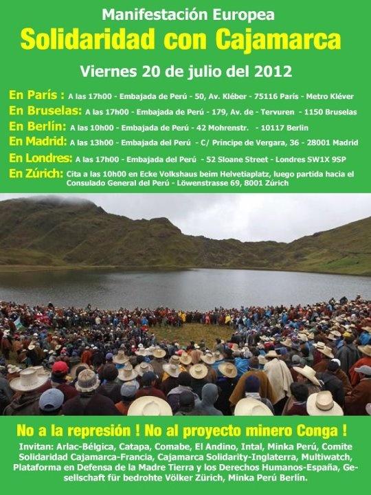 Mundo: Protesta internacional en solidaridad con Cajamarca por proyecto minero Conga