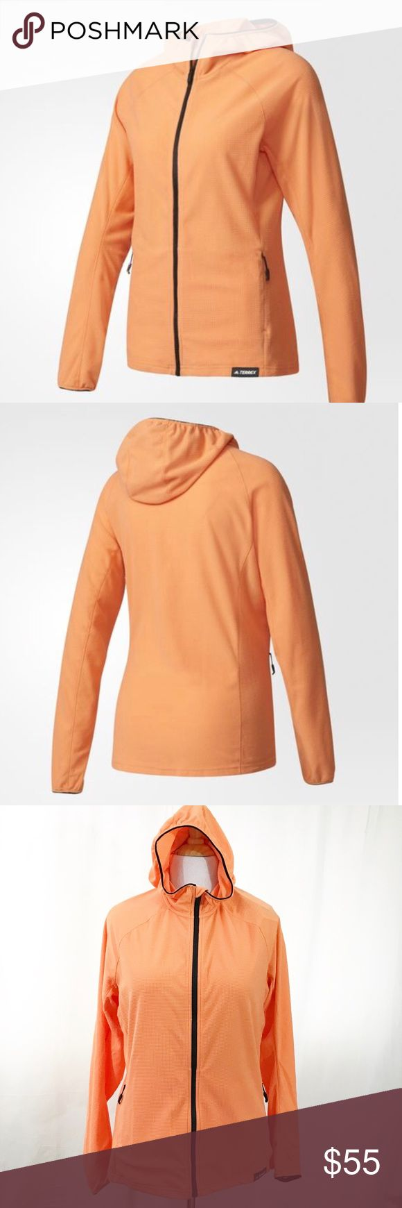 adidas Terrex Fleece Climalite with Hoodie. XL A cute orange fleece hoodie by Adidas. The Terrex.  Climalite  keeps your body dry by drawing sweat away from the skin. 37.5 technology uses millions of particles to capture and release moisture vapor – helping you zone in on a personal microclimate of ideal relative humidity and core body temperature. New with tag. Size XL. adidas Tops Sweatshirts & Hoodies