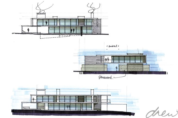 drew architects  |  two floating boxes  |  initial design sketches