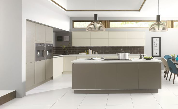Linear Matt & Gloss - Shown here in Matt Taupe Grained and Matt Mussel Grained http://www.symphony-group.co.uk/products/kitchens