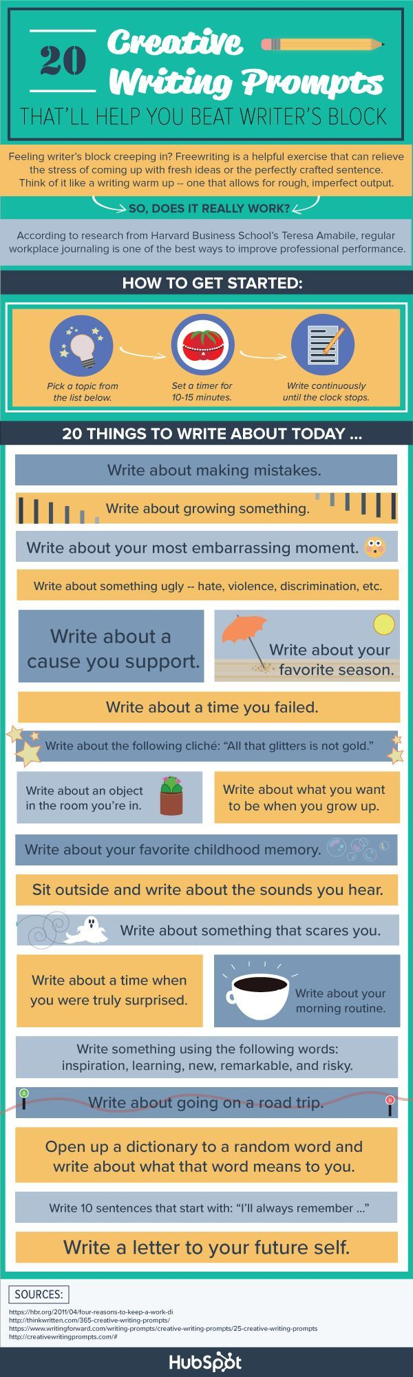 Infographic: 20 ways to conquer writer's block -- Getting out of a creative funk can prove difficult, even in the best of circumstances. Try these prompts and strategies to get the words flowing again—and meet your tightest deadlines.