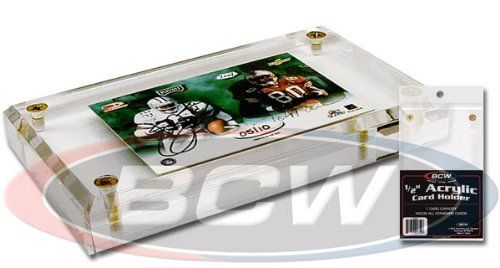 BCW - 1/2 Inch Acrylic Card Display or Holder with UV Protection - Ideal for Displaying Baseball & Other Sports Cards by BCW. $8.99. The BCW 1/2 Inch Acrylic Card Holder has all the advantages of the traditional four screw card holder and is attractive way to store and display your most valuable trading cards.? BCW acrylic holders contain U.V. absorbers to help protect your collection from ultraviolet yellowing.