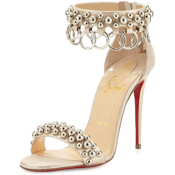Christian Louboutin Gypsandal Ring-Trim 100mm Red Sole Sandal ($1,045) ❤ liked on Polyvore featuring shoes, sandals, heels, gold, shoes sandals, ankle strap heel sandals, strap sandals, zip back sandals, ankle wrap sandals and studded sandals
