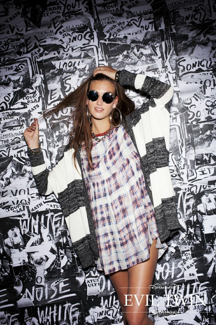 Evil Twin the Label 'Crims' Hooded Cardigan & 'Faded Glory' Oversize Babydoll Dress