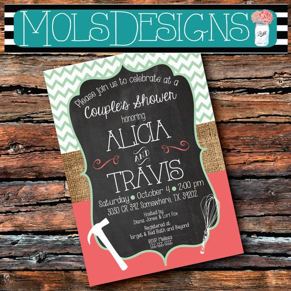 Any Color COUPLES WEDDING SHOWER Stock Kitchen Tools & Gadget His Her Barbecue Bridal Cookout Honey Do Shower Baby Birthday Coral Invitation