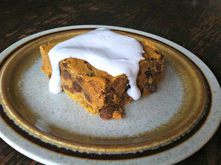 Pumpkin Raisin Cake with Coconut Cream Frosting  www.sherilynjoyce.com