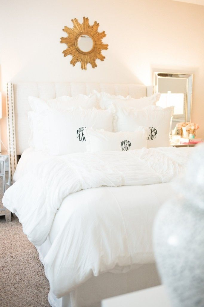Chronicles of Frivolity, Master Bedroom, Katey McFarlan, Monogram Bedding, White Bedding