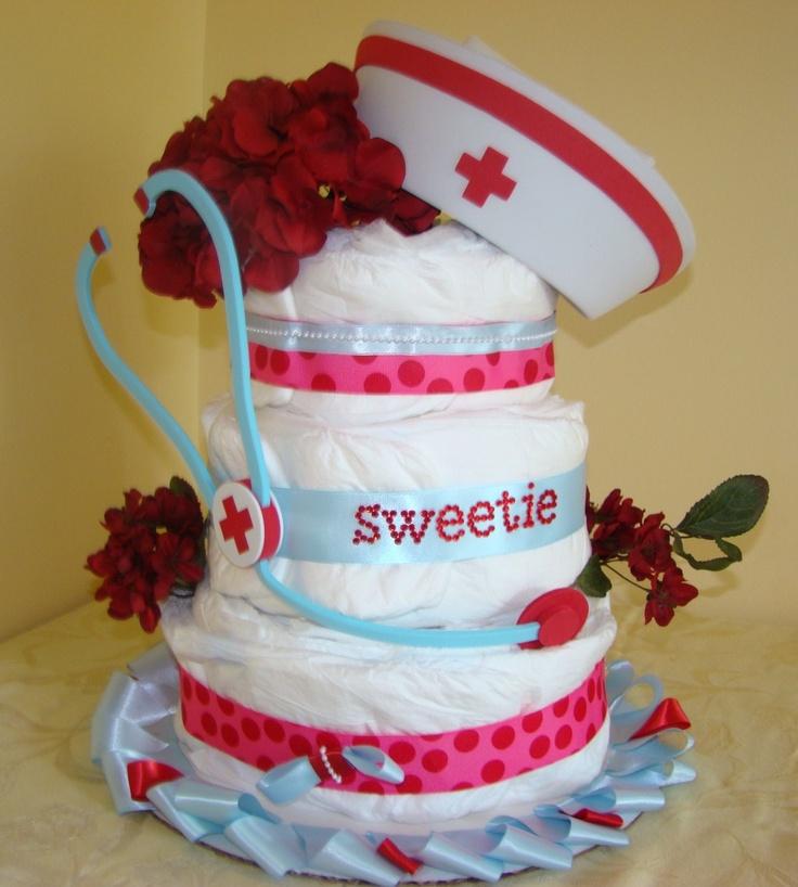 Nurse Diaper Cake by CuddlyChicBoutique