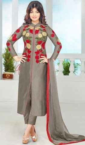 Grey Colored Enticing Embroidered Designer Suit