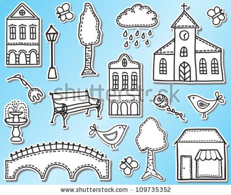 Town or city design elements  - hand drawn style