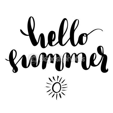 Скачать - Привет лето кисти литерность — стоковая иллюстрация #98101790