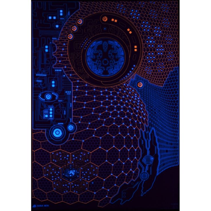 Mental Diver D10 Wallhanging by Public Beta Wear  Hightech style psychedelic designs for wall deco. Glows in blacklight. 3D effect with special Chromadepth glasses. Digital print on woven garment 140g/m2, 100% PES.   #publicbetawear #blacklightart #wallhanging #deco