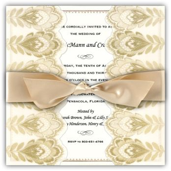 Glittered Gold Feather Gatefold Wedding Invitations; love the intricate feather pattern