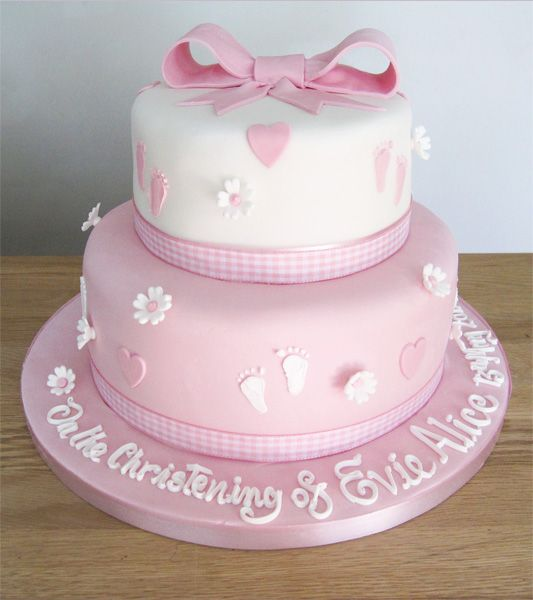2 Tier Pink Christening Cake by The Cakery | www.thecakeryleamington.co.uk