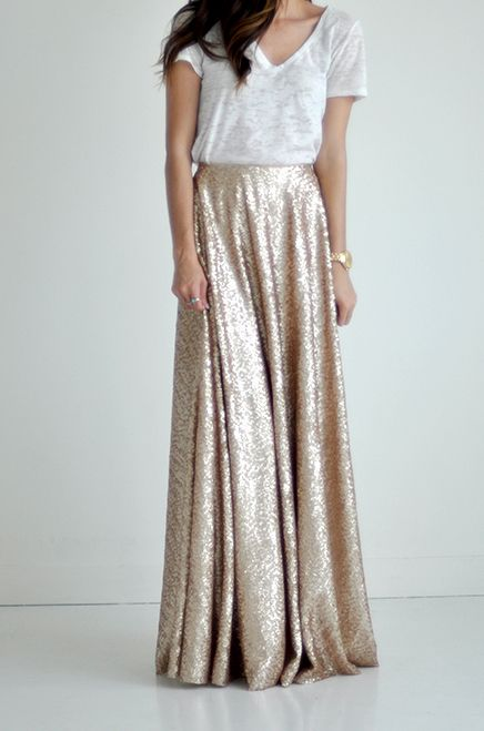 Sequin Maxi Skirt | Golden Champagne