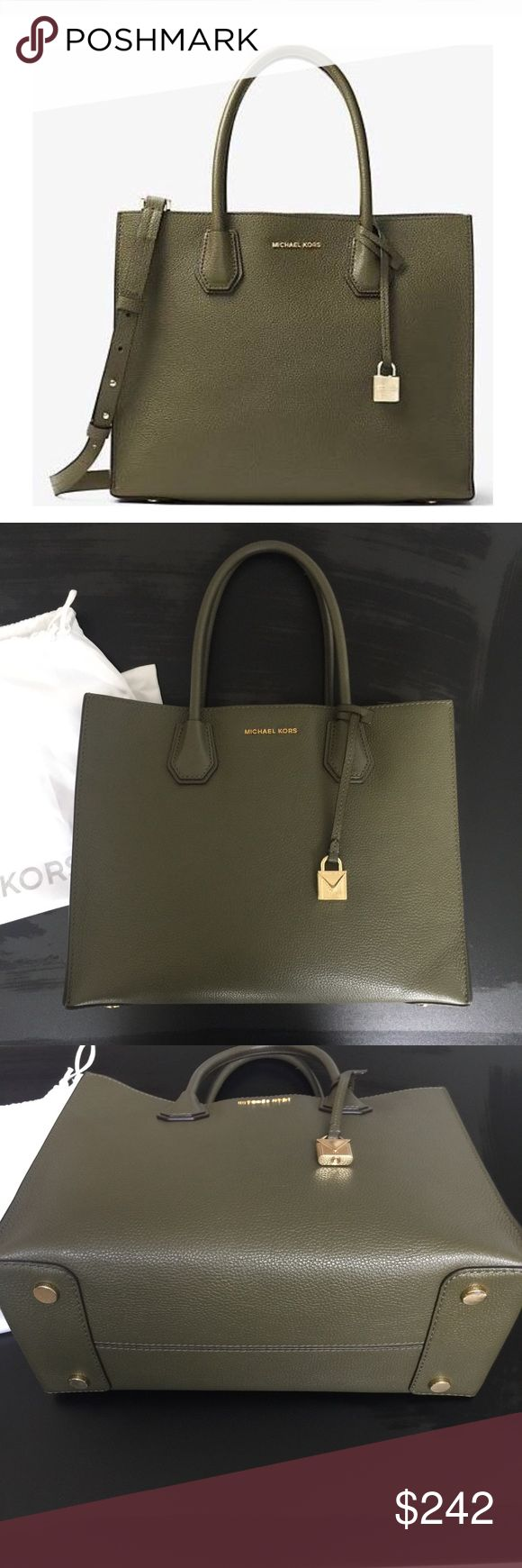 NWT Michael Kors Mercer NWT Michael Kors Mercer in Olive green color. SOLD OUT ONLINE- IN HIGH DEMAND!! this is the medium size, comes with original tag, strap, and dust bag. Please see photo 3 as reference for bottom feet ( light scratching)This handbag is not coupon eligible in stores EVER!                              🌵i LOVE offers!                                                                        🌵bundle and save 15% 🌵shipped from a smoke/pet free home…