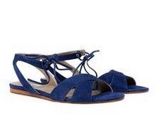 Nashville Blue suede low heel sandals