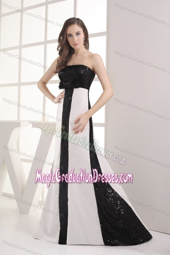 Sequin Bowknot Black and White California University Graduation Dress