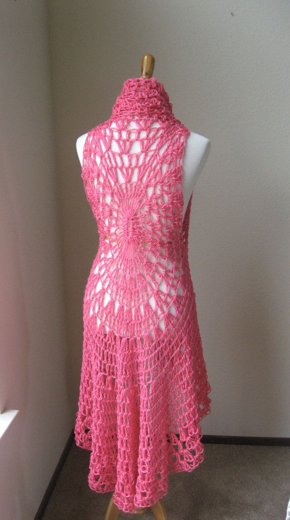 Hot PINK MAXI VEST Crochet, Knit, Fit Any Size, Long Vest ...