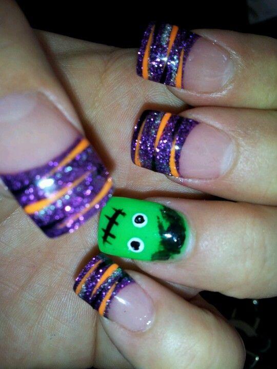 Halloween Nails Frankenstein with Orange Black n Silver ...