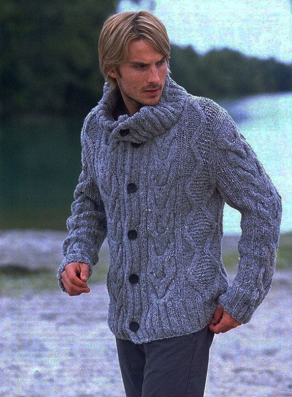 MADE TO ORDER  men hand knitted cardigan turtleneck sweater cardigan men clothing wool handmade men's knitting aran cabled crewneck