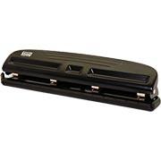 Perfurador de papel 04 furos p/10 fls P-410 Easy Office CX 1 UN  Características do Produto   Possui 4 furos   Margem de 9mm   Fura até 10 folhas   Espaço entre furos ajustável     Dimensões   298x 45x 66mm  R$29,90