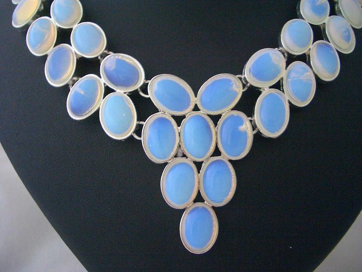 Fabulous Statement Handmade Silver Bib Necklace, with 31 Opalite Stones!!! by Ameogem on Etsy