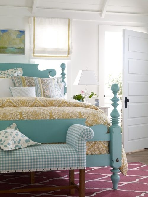 Aqua Painted Bed, Gingham Bench