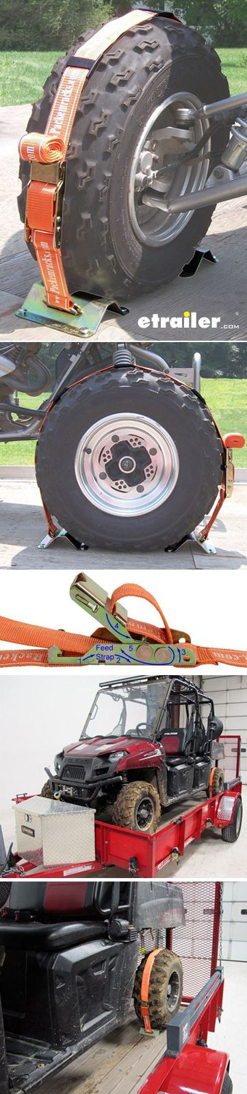 This wheel tie-down kit can keep your ATVs, equipment, mowers and more from rolling during transit.  The two steel stops and polyester strap hold one tire firmly to your truck bed or trailer deck.