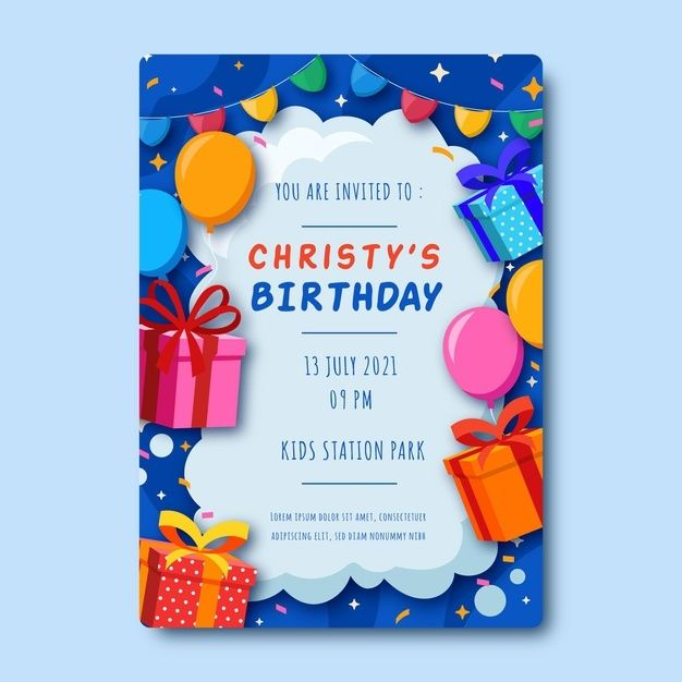 Children Birthday Invitation In 2021 Invitation Card Birthday Birthday Invitation Card Template Happy Birthday Card Design