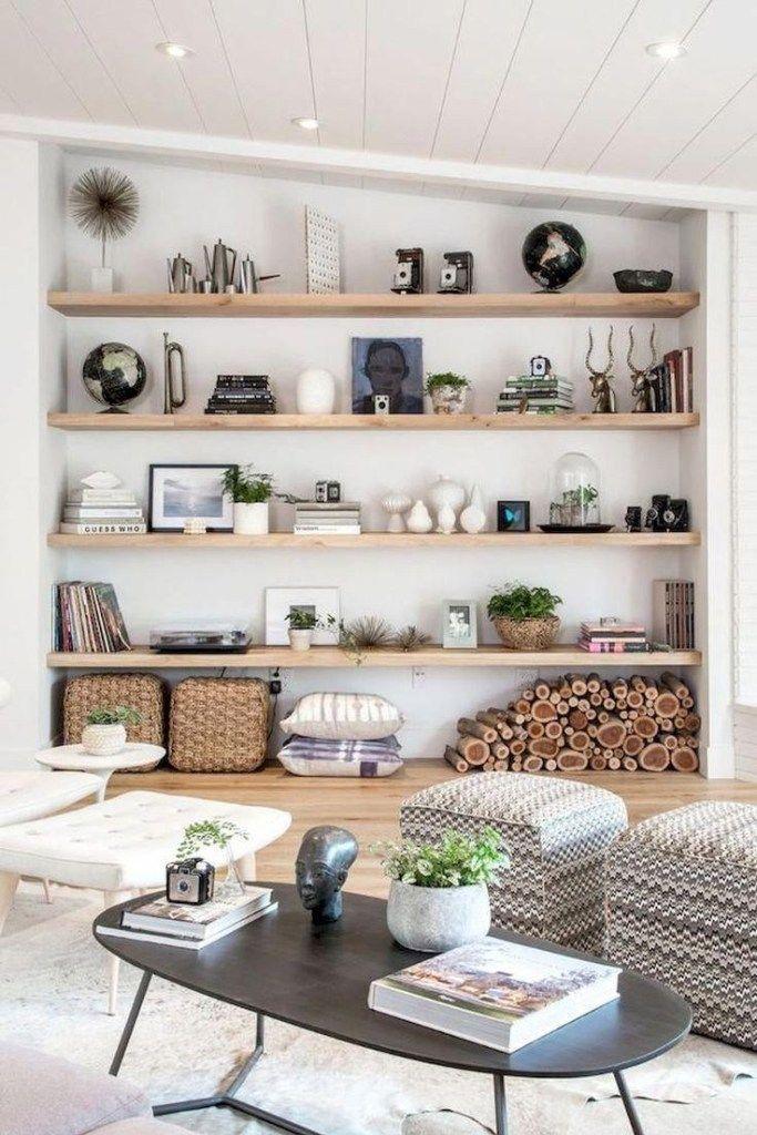 Gorgeous DIY living room shelving home decor. #gorgeousdiylivingroomshelving