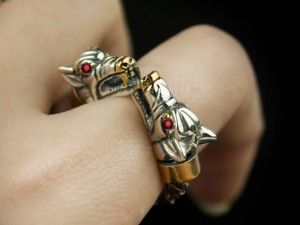 Fenrir (ruby /silver) - Viking ring with wolf heads - Silver Viking Wolf Head Ring Jewel Celtic