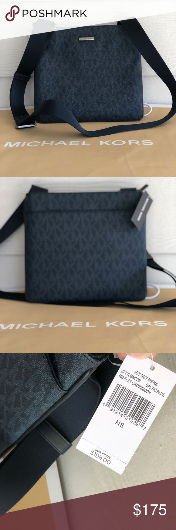 Michael Kors Mens Jet Set Flat Blue Crossbody NWT 100% Authentic Michael Kors Men's Jet Set Medium Flat Cross body Baltic Blue NWT!  MRSP:  Jet set cross body: 198$+tax  Compact Style  Large Secure Compartment   Zip Locked  Padded Tablet Sleeve  Signature Branded  Adjustable Shoulder Strap  Secure Zipped Pocket Inside  Metal Branded Plaque To Front Michael Kors Bags Messenger Bags