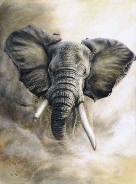 78 ideen zu elefant gem lde auf pinterest. Black Bedroom Furniture Sets. Home Design Ideas