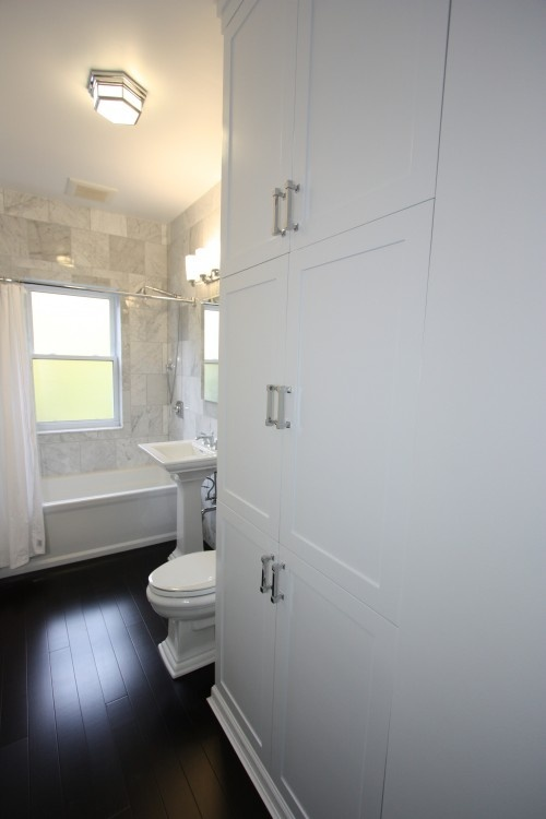 Creative It Is Important To Keep Four Major Elements In Mind When Creating A Narrow Bathroom Design The Toilet, Sinks, Shower And Storage While Moving The Toilet Is Possible And Sometimes Economical, It Will Usually Increase Project Time And