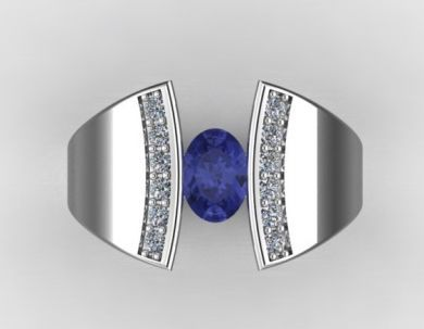 *CD DESIGNER JEWELRY*1.026ct Tanzanite and Clear CZ in 925 Sterling Silver