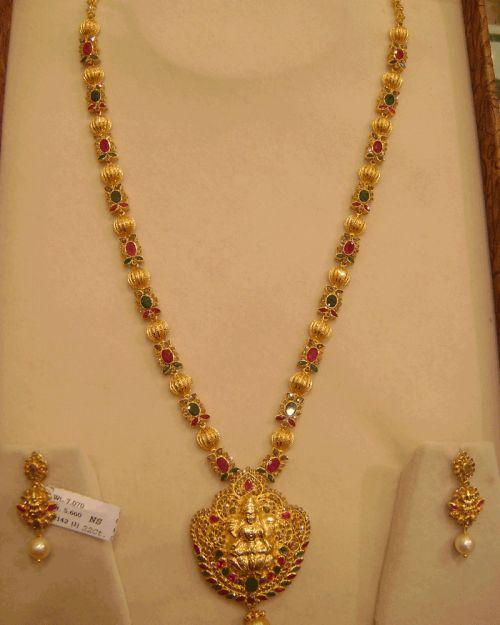 Temple Laxmi Long Necklace Rubi, Emerald, Uncut Diamond (Laxmi Harram)