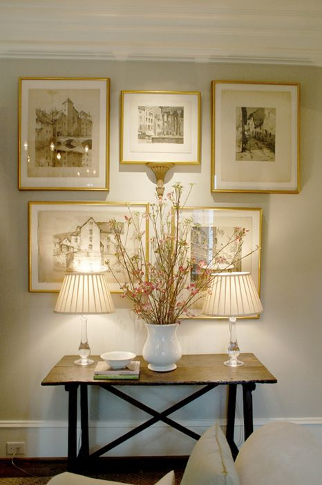 Could work beautifully on the monochromatic wall paper in the powder room of my client's home.